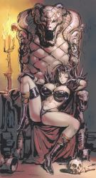 1girl, armor, bikini, bikini armor, black bikini, black footwear, black hair, boots, breasts, candle, candlelight, candlestand, cape, circlet, cleavage, fujii eishun, gem, goblet, hair intakes, highres, jewelry, large breasts, long hair, naga the serpent, necklace, pauldrons, revealing clothes, shoulder armor, sitting, skull, skull necklace, slayers, smile, snake, spiked pauldrons, spikes, spread legs, swimsuit, throne