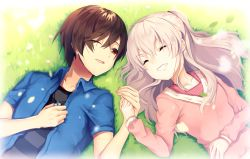 1boy, 1girl, black shirt, blue shirt, brown hair, charlotte (anime), collarbone, collared shirt, couple, dress shirt, eyes closed, from above, grin, hand holding, hetero, holding, kurotea, long hair, looking at another, lying, on back, one eye closed, open clothes, open mouth, open shirt, otosaka yuu, pink sweater, red eyes, red shirt, shiny, shiny hair, shirt, short hair, silver hair, smile, striped, striped shirt, sweater, tomori nao, upper body, wing collar