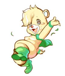Rule 34 | 1girl, blonde hair, breasts, female focus, furry, green footwear, green vest, gummi bears, highres, medium breasts, multicolored hair, nipples, open clothes, open mouth, open vest, short stack, simple background, solo, sunni gummi, tory (tory29), vest, white background