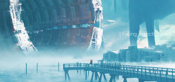 1girl, absurdres, artist name, bird, black coat, black pants, blue theme, building, chinese commentary, coat, commentary request, dock, english text, facing away, fog, full body, highres, industrial, lifeline (a384079959), long hair, original, pants, red ribbon, ribbon, scenery, solo, tagme, tunnel, very wide shot, water, white bird, white hair