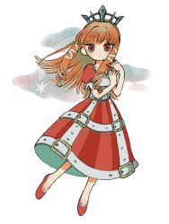 1girl, bangs, blush, boku to maou, dress, highres, long hair, looking at viewer, no nose, orange hair, princess marlene, puffy short sleeves, puffy sleeves, red dress, red eyes, red footwear, shoes, short sleeves, solo, white background, zukky000