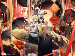 2girls, absurdres, animal ear fluff, animal ears, arknights, bandage, bandaged leg, bandages, bangs, bare legs, barefoot, beeswax (arknights), black coat, blonde hair, braid, brown hair, character name, choker, coat, commentary request, dress, firecrackers, fireworks, fox ears, fox girl, fox tail, goat ears, goat horns, green eyes, grey hair, hair ornament, highres, holding, holding fireworks, holding lighter, horns, huge filesize, jewelry, kitsune, lantern, looking at viewer, multicolored hair, multiple girls, necklace, obelisk, paper lantern, platinum blonde hair, sidelocks, sitting, spread legs, suzuran (arknights), tail, toenails, twin braids, white dress, white hair, yellow eyes, yushi ketsalkoatl