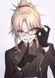 1girl, bambi-25, bangs, black gloves, blonde hair, blush, braid, breasts, collared shirt, eyebrows visible through hair, fate/grand order, fate (series), finger to mouth, french braid, glasses, gloves, green eyes, grin, hair ornament, hair scrunchie, highres, holding, holding eyewear, jacket, long hair, long sleeves, looking at viewer, mordred (fate), mordred (fate) (all), open mouth, ponytail, red scrunchie, scrunchie, shirt, short hair, shushing, sidelocks, simple background, smile, solo, teeth, white background, zipper