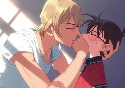 2boys, age difference, amuro tooru, bangs, black-framed eyewear, blonde hair, blue eyes, blush, brown hair, casual, child, collarbone, commentary request, covering mouth, edogawa conan, facing another, fingernails, from side, glasses, hair between eyes, hand on another's head, hand on another's mouth, hand over another's mouth, hand up, height difference, k (gear labo), male focus, meitantei conan, multiple boys, parted lips, red shirt, shadow, shirt, short hair, short sleeves, sunlight, sweatdrop, upper body, white shirt, yaoi