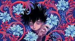 1boy, artist name, black eyebrows, black hair, black jacket, blue background, blue eyes, blue flower, boku no hero academia, burn scar, dabi (boku no hero academia), eyebrows, facial scar, fingernails, fingers, fire, flower, hair between eyes, hands, jacket, lips, long sleeves, looking at viewer, male focus, munette, pale skin, parted lips, red flower, scar, scar across eye, scar on arm, scar on cheek, scar on face, short hair, solo, solo focus, spiked hair, steam, stitched face, stitched mouth, stitches, teeth, twitter username, watermark