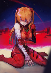 1girl, arm grab, bandage, bandaged arm, bandages, between legs, blue sky, bodysuit, breasts, brown hair, closed mouth, end of evangelion, eyepatch, fingernails, hair between eyes, hand between legs, headgear, hungry clicker, lcl, medium breasts, neon genesis evangelion, one eye covered, plugsuit, purple eyes, red bodysuit, single bare shoulder, sitting, sky, solo, soryu asuka langley, star (sky), starry sky, twintails, wariza