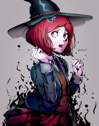 1girl, artist name, bangs, brown vest, clenched hands, collared shirt, commentary, cowboy shot, danganronpa (series), danganronpa v3: killing harmony, datcravat, english commentary, green headwear, green jacket, grey background, hair ornament, hairclip, hands up, hat, highres, jacket, long sleeves, looking at viewer, looking to the side, magic, open clothes, open mouth, pleated skirt, red eyes, red hair, school uniform, shiny, shiny clothes, shirt, short hair, sideways glance, simple background, skirt, solo, vest, witch hat, yumeno himiko