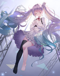 1girl, absurdres, alternate hair color, aqua nails, barefoot, black legwear, blue hair, bow, buckle, buttons, chest harness, closed mouth, collared shirt, commentary request, dress shirt, eyebrows visible through hair, eyes closed, facing viewer, fingernails, floating hair, frilled skirt, frills, full body, gradient hair, hair bow, hands on own chest, harness, hatsune miku, highres, light purple hair, light rays, long hair, long sleeves, minato0683, multicolored hair, nail polish, neck ribbon, no shoes, o-ring, project sekai, red neckwear, ribbon, shirt, single thighhigh, skindentation, skirt, smile, solo, thighhighs, toenail polish, toenails, toes, triangle, twintails, untucked shirt, very long hair, vocaloid, wavy hair, white bow, white shirt, white skirt