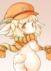 Rule 34 | 1girl, animal ears, ass, blush, brown eyes, cabbie hat, female focus, from behind, furry, goat ears, goat horns, goat tail, hat, highres, horns, looking back, naked scarf, scarf, solo, uro 99, white fur, white hair