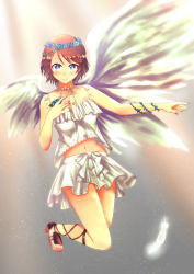 1girl, angel, angel wings, aqua eyes, aqua flower, artist name, artist request, bangs, bare legs, barefoot, barefoot sandals, birthday, blue eyes, blue flower, blush, bow, bracelet, breasts, brown footwear, brown hair, buttons, cleavage, collarbone, cross-laced footwear, dress, eyebrows visible through hair, feet, female focus, flower, flower bracelet, flower wreath, frilled dress, frills, full body, grey hair, hair between eyes, hair flower, hair ornament, hairclip, hand on chest, hand on own chest, happy birthday, head wreath, high heels, highres, jewelry, lace, lace-trimmed legwear, lace trim, light brown hair, looking at viewer, love live!, love live! school idol festival, love live! sunshine!!, masa sevenred, masakazu yamato, masakazu yamato (masa sevenred), medium breasts, nail, nail polish, parted lips, pink nail polish, pink nails, sandals, short hair, short sleeves, skirt, smile, solo, watanabe you, white bow, white dress, white skirt, white wings, wings, yamato masakazu