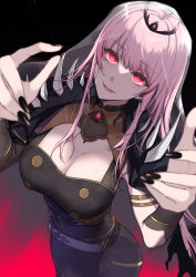1girl, bangs, black nails, blurry, blurry foreground, breasts, cleavage, eyebrows visible through hair, from above, highres, hololive, hololive english, large breasts, long hair, mori calliope, nail polish, open mouth, pink hair, pochi (pochi-goya), red eyes, shoulder spikes, sidelocks, simple background, solo, sparkle, spikes, veil, virtual youtuber