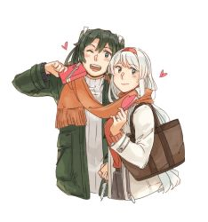 2girls, bag, bangs, blush, box, closed mouth, cropped legs, gift, gift box, green hair, green jacket, hairband, heart, holding, holding gift, jacket, kantai collection, long hair, long sleeves, multiple girls, one eye closed, open mouth, orange scarf, red hairband, ribbed sweater, scarf, shared scarf, shoukaku (kancolle), simple background, sweater, turtleneck, turtleneck sweater, twintails, weidashming, white background, white jacket, white sweater, zuikaku (kancolle)