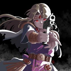 1girl, armor, automatic giraffe, belt, bracelet, cape, circlet, colorized, commentary, dress, english commentary, evil grin, evil smile, finger on trigger, forehead jewel, grin, gun, holding, holding gun, holding weapon, jewelry, light brown hair, long hair, nintendo, pauldrons, pearl bracelet, pointy ears, princess zelda, purple dress, red eyes, revision, shoulder armor, smile, solo, the legend of zelda, the legend of zelda: a link between worlds, time paradox, torn cape, torn clothes, vambraces, weapon, white cape