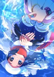 2girls, absurdres, ainu clothes, black hair, black legwear, blush, boots, bracelet, closed mouth, commentary request, creatures (company), dawn (pokemon), different reflection, eyelashes, female protagonist (pokemon legends: arceus), floating hair, game freak, grey eyes, hands together, head scarf, highres, jewelry, multiple girls, nintendo, pink footwear, pokemon, pokemon (game), pokemon dppt, pokemon legends: arceus, pon yui, red scarf, reflection, ripples, scarf, smile, socks, squatting, water, white legwear