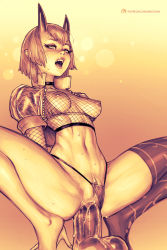 Rule 34 | 1girl, anal, bbc-chan, borrowed character, breasts, dildo, dildo riding, fishnet top, fishnets, gradient, gradient background, highres, horns, masturbation, medium breasts, monochrome, navel, nipples, oni, oni horns, open mouth, original, pussy, rolling eyes, see-through sleeves, sex toy, short hair, short sleeves, single thighhigh, solo, squatting, thighhighs, uncensored