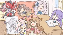 6+girls, ahoge, airani iofifteen, animal ears, anya melfissa, ayunda risu, bangs, blonde hair, book, bow, brown hair, chibi, drawing, dress, feather hair ornament, gradient hair, grey hair, holding, holding paintbrush, hololive, hololive indonesia, kureiji ollie, mipuxaneko, moona hoshinova, multicolored hair, multiple girls, one eye closed, open book, open mouth, paintbrush, palette hair ornament, pavolia reine, pink hair, pink headwear, purple eyes, purple hair, red bow, red eyes, red hair, side bun, side ponytail, sitting, smile, squirrel ears, squirrel girl, squirrel tail, stitched face, stitches, sword, table, tail, udin (kureiji ollie), v-shaped eyebrows, virtual youtuber, weapon, white dress, zombie