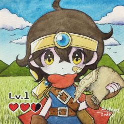 1girl, bandaid, bandaid on face, belt, bird, brown gloves, brown hair, cape, cloud, cloudy sky, dated, gloves, grass, hand up, highres, hill, looking at viewer, lying, on back, original, red cape, short hair, signature, sky, solo, sword, traditional media, upper body, weapon, yellow eyes, zukky000