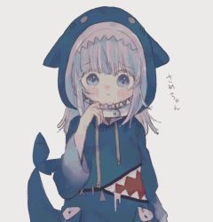 1girl, :<, animal hood, blue eyes, blue hoodie, closed mouth, crying, crying with eyes open, fish tail, frown, gawr gura, hiragana, hololive, hololive english, hood, hoodie, shark hood, shark tail, simple background, solo, tail, tears, virtual youtuber, yuzuriha nyan, zipper