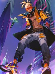 1boy, apex legends, asian, bandaid on stomach, blonde hair, blue jacket, building, cornrows, crypto (apex legends), drone, grey pants, hairlocs, hands in pockets, highres, hype beast crypto, iwamoto zerogo, jacket, leaning forward, looking down, male focus, navel, orange jacket, pants, science fiction, shirtless, skyscraper, solo, sunglasses, two-tone jacket, yellow jacket
