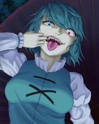 1girl, bangs, blue eyes, blue hair, blue vest, breasts, commentary request, constricted pupils, eyebrows visible through hair, fangs, frilled shirt, frills, glowing, glowing eye, heterochromia, juliet sleeves, karakasa obake, long sleeves, looking at viewer, medium breasts, mouth pull, open mouth, parasite oyatsu, puffy sleeves, red eyes, saliva, shirt, short hair, solo, tatara kogasa, teeth, tongue, tongue out, touhou, umbrella, upper body, vest, white shirt