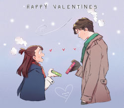 1boy, 1girl, andrew hanbridge, artist name, black gloves, blue cloak, blush, brown hair, cloak, closed mouth, coat, cropped torso, dated, english text, from side, full-face blush, gift, gloves, green scarf, grey coat, hair tie, half updo, happy valentine, head steam, heart, hetero, holding, holding gift, hood, hood down, kagari atsuko, little witch academia, long hair, looking at another, marii pily, open mouth, red scrunchie, scarf, scrunchie, shirt, short hair, smile, standing, sweatdrop, trench coat, valentine, white shirt, wind