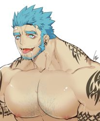 1boy, aqua eyes, aqua hair, arm tattoo, bandaid, bandaid on forehead, bara, beard, bright pupils, character request, check copyright, chest hair, copyright request, drooling, eyebrow piercing, facial hair, gomtang, large pectorals, male focus, mature male, muscular, muscular male, neck tattoo, nipples, nude, original, piercing, short hair, shoulder tattoo, solo, stubble, tattoo, thick eyebrows, tongue, tongue out, upper body
