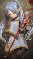 1girl, belt, brown belt, brown legwear, elf, fingernails, green eyes, grey hair, highres, hironii (hirofactory), holding, holding staff, looking at viewer, open mouth, pointy ears, solo, sousou no frieren, staff, turtleneck, twintails, wizard