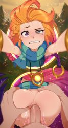 Rule 34   1boy, 1girl, anal, anus, armlet, ass, ass grab, breasts, clenched teeth, freckles, hair ornament, hetero, heterochromia, highres, jewelry, league of legends, long hair, merunyaa, multicolored hair, necklace, orange hair, penis, portal (object), sex, small breasts, sparkle, spread anus, spread ass, teeth, uncensored, zoe (league of legends)