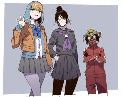 1other, 2girls, adapted costume, ambiguous gender, apex legends, black gloves, black serafuku, black skirt, bloodhound (apex legends), blue bow, blue eyes, blue hoodie, bow, collared shirt, cropped legs, crossed arms, facial scar, gloves, goggles, grey skirt, gym uniform, hair behind ear, hair bun, hand in pocket, hand on hip, helmet, hood, hood up, hoodie, jacket, legs crossed, lichtenberg figure, looking down, looking to the side, mask, mizu cx, mouth mask, multiple girls, open mouth, pants, pantyhose, red jacket, red pants, scar, scar on cheek, scar on face, school uniform, serafuku, shirt, skirt, track jacket, track pants, wattson (apex legends), waving, white shirt, wraith (apex legends)