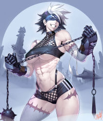 1girl, abs, architecture, ball and chain (weapon), bandage, bandaged arm, bandages, bare shoulders, black hair, black shorts, blindfold, breasts, building, commentary request, contrapposto, covered eyes, cowboy shot, east asian architecture, facing viewer, gauntlets, grey background, grin, halter top, halterneck, highres, holding, holding weapon, large breasts, multicolored hair, muscular, muscular female, navel, ogami, original, patchwork skin, revealing clothes, scar on arm, scar on leg, short hair, short shorts, shorts, signature, smile, solo, spiked hair, spikes, standing, stitched face, stitches, stomach, taut clothes, tree, two-tone hair, underboob, weapon, white hair, zombie