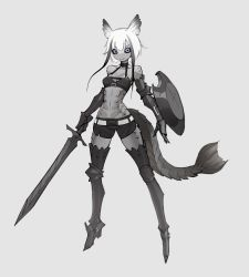 1girl, absurdres, armored boots, arms at sides, belt, black hair, black sclera, boots, breasts, colored sclera, commentary request, expressionless, fins, fish girl, full body, gauntlets, grey background, highres, holding, holding sword, holding weapon, long bangs, looking at viewer, medium breasts, multicolored hair, navel, original, purple eyes, rocket neko, scales, shield, short hair, shorts, solo, sword, tail, two-tone hair, weapon, white hair