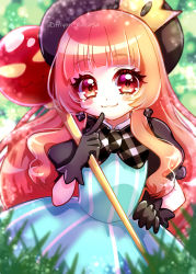 1girl, :3, absurdres, akumu, aqua dress, bangs, beret, black gloves, black headwear, black sleeves, blunt bangs, blurry, blurry background, blush, close-up, closed mouth, commentary request, crown, depth of field, dress, earrings, eyes visible through hair, gloves, gradient hair, grass, hair over shoulder, hand on hip, hat, highres, holding, holding staff, index finger raised, jewelry, kazusa hiyori, light particles, long hair, looking at viewer, mewkledreamy, mexkledreamy mix!, mini crown, multicolored hair, orange hair, outdoors, pointing, pointing at self, puffy short sleeves, puffy sleeves, red eyes, short sleeves, smile, solo, staff, striped, striped dress, twitter username, upper body, wavy hair, white stripes
