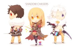 1girl, animal print, bangs, blonde hair, bow (weapon), brown cape, brown coat, brown hair, brown pants, cape, chibi, closed mouth, coat, commentary request, dagger, endo mame, english text, full body, fur collar, hair between eyes, holding, holding bow (weapon), holding dagger, holding paintbrush, holding weapon, ice pick, knife, leopard print, long hair, looking at viewer, mole, mole under eye, navel, one eye closed, open mouth, orange eyes, paint, paintbrush, pants, penomena, purple eyes, ragnarok online, red eyes, shadow chaser (ragnarok online), sheath, short hair, simple background, smile, sparkle, standing, tumblr username, waist cape, watermark, weapon, web address, white background, white hair