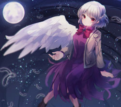 1girl, angel wings, arm support, bangs, beige jacket, blurry, bow, bowtie, braid, breasts, brooch, closed mouth, dark background, depth of field, dress, expressionless, eyebrows visible through hair, falling feathers, feet out of frame, french braid, full moon, highres, jacket, jewelry, kishin sagume, light particles, long sleeves, looking at viewer, medium breasts, moon, moshihimechan, open clothes, open jacket, purple dress, red bow, red eyes, red neckwear, short hair, silver hair, single wing, sitting, solo, touhou, wings
