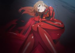 1girl, absurdres, artist request, ass, blue eyes, bodysuit, breasts, brown hair, covered navel, curvy, highres, jacket, long hair, looking at viewer, lying, medium breasts, neon genesis evangelion, plugsuit, red, red bodysuit, red jacket, shiny, shiny clothes, shiny hair, solo, soryu asuka langley, twintails, two side up
