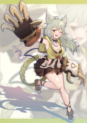 1girl, ;d, ahoge, animal ear fluff, animal ears, armpits, bare shoulders, black collar, black skirt, blurry, blurry background, blush, breasts, brown eyes, brown footwear, claw (weapon), cleavage, collar, collarbone, commentary request, depth of field, erune, full body, granblue fantasy, grey hair, highres, long hair, looking at viewer, medium breasts, one eye closed, open mouth, pleated skirt, sen (granblue fantasy), shadow, shoes, skirt, smile, solo, standing, standing on one leg, uneg, weapon, zoom layer