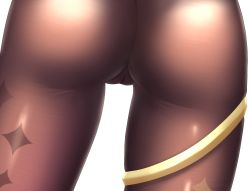 Rule 34 | 1girl, ass, ass focus, brown legwear, cameltoe, chinese commentary, cleft of venus, close-up, commentary request, genshin impact, head out of frame, highres, lower body, mona megistus, no panties, pantyhose, print legwear, simple background, solo, sparkle print, thigh gap, thighlet, thighs, view between legs, white background, z282g
