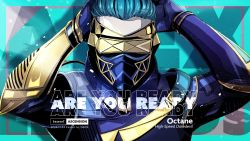 1boy, apex legends, artist name, blue bodysuit, blue gloves, blue hair, bodysuit, character name, dame (dame ice), dated, gloves, hair slicked back, hand to head, highres, male focus, mask, mouth mask, octane (apex legends), solo, upper body