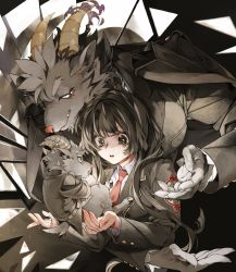1girl, 2boys, animal ears, animal nose, bangs, black eyes, black hair, black jacket, blunt bangs, body fur, claws, collared shirt, commentary request, eye contact, eyebrows behind hair, fang, fang out, fingernails, floating, formal, furry, goat boy, goat ears, goat horns, goat tail, grey fur, highres, hooves, horns, jacket, jacket on shoulders, kazanniro, long hair, long sleeves, looking at another, master 2 (tokyo houkago summoners), mephistopheles (tokyo after school summoners), multiple boys, necktie, red eyes, red neckwear, salomon (tokyo houkago summoners), shatter, shirt, suit, tears, tokyo houkago summoners, white shirt