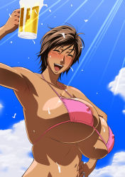 Rule 34   1girl, alcohol, alcoholic, amaha masane, areola slip, areolae, bare shoulders, beer, beer mug, beer sud, bikini, bikini top, blue sky, blush, breasts, brown hair, bursting breasts, bursting cleavage, cleavage, cloud, cloudy sky, collarbone, covered erect nipples, cup, dark-skin, dark-skinned, dark-skinned female, dark skin, day, daylight sky, drinking glass, drunk, excited, excited face, eyes closed, female focus, hand on hip, happy, highres, holding, holding beer, holding drinking glass, huge areolae, huge breasts, huge cleavage, huge nipples, jewelry, makeup, micro bikini, micro bikini top, micro bra, milf, mug, narrow waist, navel, nipples, nipples visible through clothing, nose blush, open-mouth, open-mouth smile, open mouth, open mouth smile, outdoors, pink bikini, pink bikini top, pink swimsuit, puffy areolae, puffy nipples, ring, shiny, shiny face, shiny hair, shiny skin, short hair, shoulders, sky, slender, slender waist, smile, solo, spill on breasts, spilling, sun, sunlight, suntan, suntanned, swimsuit, tan, tan skin, tatsunami youtoku, underboob, upper body, waist, witchblade