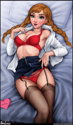 Rule 34 | absurdres, anna (frozen), aroma sensei, bed sheet, black garter straps, blue eyes, body freckles, bra, braid, breasts, brown hair, brown legwear, contemporary, fingernails, freckles, frozen (disney), heart, highres, lace, lace-trimmed panties, lace trim, legs together, lingerie, lips, long braid, long hair, looking at viewer, lying, makeup, mascara, medium breasts, multicolored hair, nail polish, nose, office lady, on back, on bed, open clothes, open shirt, panties, parted lips, pillow, red bra, red panties, shirt, skirt, skirt lift, streaked hair, thick eyebrows, thighhighs, twin braids, underwear, undressing, upper teeth, white shirt, zipper pull tab, zipper skirt