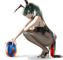 1girl, animal ears, anklet, bangs, bare shoulders, black footwear, black legwear, black nails, bow, bowtie, bracelet, breasts, bunny ears, bunny tail, cleavage, closed mouth, commentary request, delsaber, earrings, easter egg, egg, fake animal ears, fake tail, fire emblem, fire emblem: the blazing blade, fishnet legwear, fishnets, full body, green eyes, green hair, hair between eyes, high heels, high ponytail, highres, holding, holding egg, jewelry, large breasts, leotard, long hair, looking at viewer, lyn (fire emblem), nail polish, nintendo, pantyhose, patent heels, playboy bunny, ponytail, shadow, shoes, simple background, smile, solo, squatting, stiletto heels, tail, white background