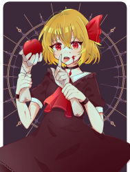1girl, absurdres, adapted costume, ascot, bangs, black choker, black dress, blonde hair, blood, blood on face, border, breasts, choker, cowboy shot, cross, dark background, disembodied limb, dress, eyebrows visible through hair, food, fruit, grey background, hair between eyes, hair ribbon, highres, holding, holding food, holding fruit, light blush, looking at viewer, necono (nyu6poko), open mouth, outside border, puffy short sleeves, puffy sleeves, red eyes, red neckwear, red ribbon, ribbon, rumia, short sleeves, simple background, small breasts, solo, standing, touhou, white border, wristband