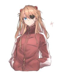 1girl, bangs, blue eyes, closed mouth, evangelion: 3.0 you can (not) redo, eyepatch, hair between eyes, hands in pockets, highres, interface headset, jacket, knt02142769, long hair, long sleeves, neon genesis evangelion, orange hair, rebuild of evangelion, red jacket, signature, simple background, solo, soryu asuka langley, track jacket, two side up, white background