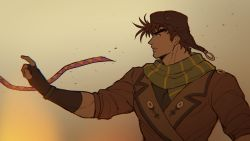 1boy, aviator cap, battle tendency, brown gloves, brown hair, brown headwear, brown jacket, catneylang, chromatic aberration, commentary, constricted pupils, english commentary, eyebrows, fingerless gloves, gloves, green scarf, highres, index finger raised, jacket, jojo no kimyou na bouken, joseph joestar (young), lapel, male focus, motion blur, multiple sources, outstretched arm, profile, scarf, short hair, sleeves pushed up, solo, striped, striped scarf, thick eyebrows, upper body
