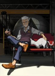 1boy, animal, beard, bench, cat, commentary, facial hair, glass, highres, holding, kongou b, legs crossed, male focus, mustache, old, old man, original, petting, short hair, sitting, vest, white hair