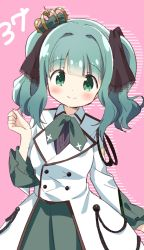 1girl, aiguillette, arm at side, bangs, blunt bangs, breasts, buttons, clenched hand, closed mouth, collared jacket, cross print, crown, curly hair, dot nose, dress, eyebrows visible through hair, futaba sana, green dress, green eyes, green hair, green neckwear, hand up, happy, highres, jacket, lace, lace-trimmed hair ornament, lace trim, light blush, looking at viewer, magia record: mahou shoujo madoka magica gaiden, mahou shoujo madoka magica, mini crown, pink background, sidelocks, simple background, small breasts, smile, solo, striped, striped background, tareme, tsubaki (tatajd), twintails, upper body, white jacket, wide sleeves