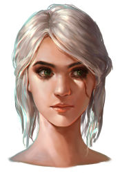 1girl, absurdres, ciri, eyebrows, eyelashes, eyeliner, facial scar, green eyes, hair bun, highres, jess (jess4400), lips, makeup, nose, portrait, realistic, scar, scar on cheek, scar on face, scared, silver hair, solo focus, the witcher, the witcher 3, tied hair