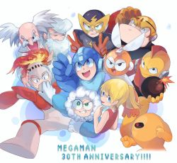 1girl, 6+boys, ^ ^, albert w wily, anniversary, arm cannon, arm up, armor, bald, bangs, bare shoulders, beard, black eyes, black sclera, blade, blonde hair, blue coat, blue eyes, blue headwear, blue shirt, blush, blush stickers, bodysuit, bomb, bomberman (rockman), boots, breastplate, chikichi, child, clenched hand, clenched hands, closed eyes, closed mouth, coat, colored sclera, colored skin, copyright name, cutman, dress, elecman, english text, everyone, eyebrows visible through hair, eyes closed, facial hair, fire, fireman, from behind, fur-trimmed hood, fur trim, fuse, gloves, green eyes, grey headwear, grin, gutsman, hand up, hands up, happy, helmet, highres, holding, holding bomb, hood, iceman, jpeg artifacts, knee boots, labcoat, lightning bolt, long sleeves, looking back, looking up, mask, mohawk, multiple boys, mustache, old, old man, one-eyed, open mouth, orange gloves, orange skin, outstretched arm, parka, pointing, ponytail, red dress, red eyes, red gloves, red hair, rockman, rockman (character), rockman (classic), roll (rockman), scratching head, shiny, shiny skin, shirt, short hair, shoulder armor, sidelocks, simple background, sleeveless, sleeveless dress, smile, spread legs, sweat, teeth, thomas light, tied hair, uneven eyes, v, vambraces, w, weapon, white background, white bodysuit, white coat, white footwear, white gloves, white hair, yellow devil, yellow gloves, yellow headwear, yellow skin
