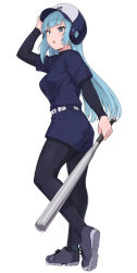 1girl, arm up, ass, bangs, baseball bat, baseball helmet, belt, black footwear, black legwear, blue eyes, blue hair, blue shirt, blue shorts, blue skirt, breasts, character request, copyright request, from side, full body, helmet, holding, long hair, long sleeves, looking at viewer, looking to the side, medium breasts, pantyhose, shirt, shiseki hirame, shoes, short over long sleeves, short sleeves, shorts, simple background, skirt, sneakers, solo, standing, white background